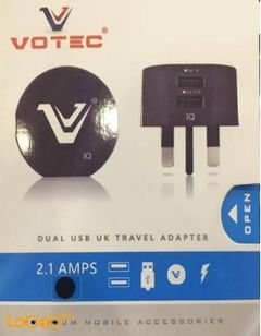 Votec Dual USB UK travel adapter 2.1AMPS - Universal