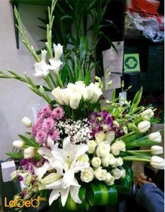 Natural flowers vase - White - Pink - Green paper flower