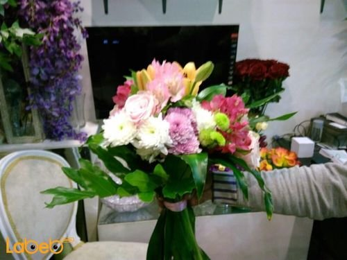 Natural flowers bouquet Yellow Pink White and Red