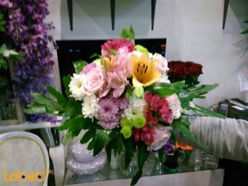 Natural flowers bouquet Yellow Pink White Red colors