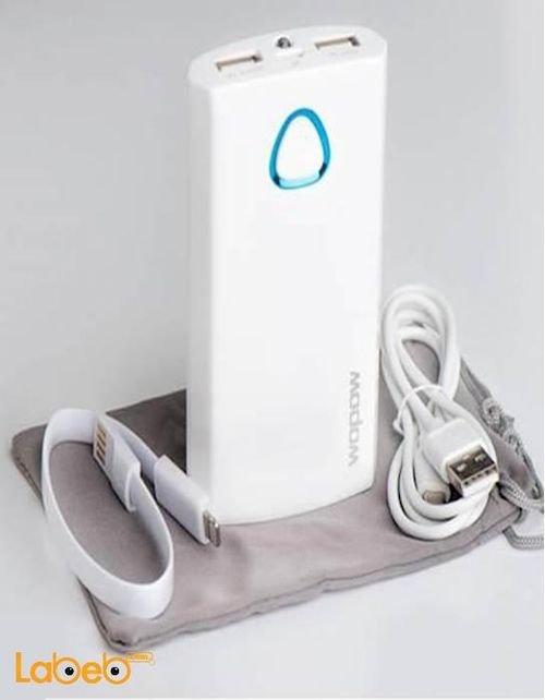 بطارية محمولة Wopow سعة 7800mAh منفذين USB أبيض PD503