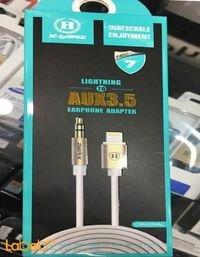 كابل Aux مناسب لموبايل ايفون 7 طول 1 متر أبيض HD-A710