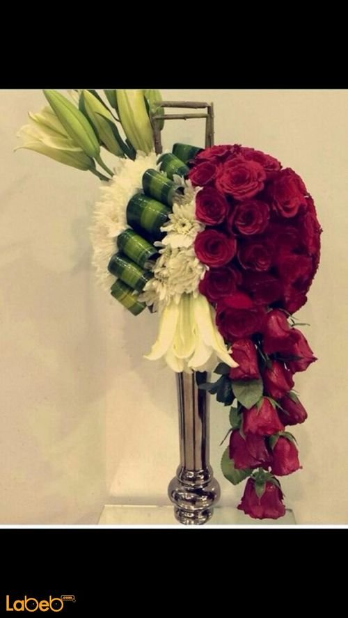 Natural flower bouquet, With metal base, Red and White flowers