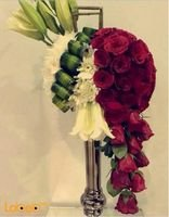 Natural flower bouquet With metal base Red & White flowers