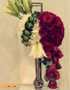 Natural flower bouquet - With metal base - Red and White flowers
