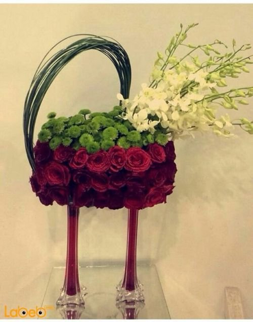 Natural Flowers Bouquet with glass stand with Red color flowers