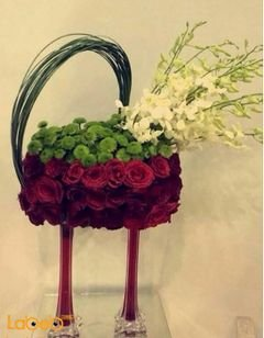 Natural Flowers Bouquet - with glass stand - Red color flowers