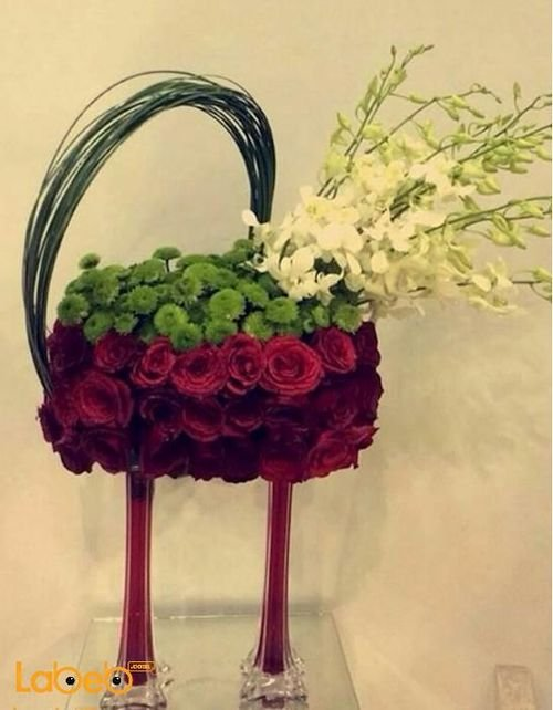 Natural Flowers Bouquet, with glass stand, Red color flowers