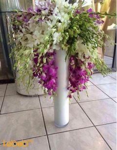 Natural flowers bouquet - with white vase - Purple white & green