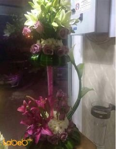Natural flowers Bouquet - with glass stand - Purple and White