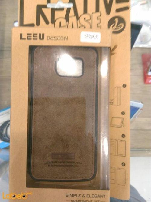 غطاء خلفي Lesu مناسب لموبايل سامسونج S6 ادج لون بني