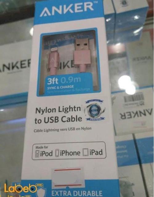 كابل شحن انكر لأجهزة الايفون 0.9 متر لون وردي A7136H