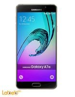 Gold Samsung Galaxy A7(2016) smartphone screen