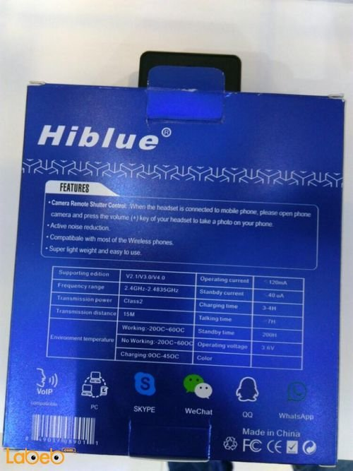 Hiblue Wireless headset specification Universal Black color H850 model