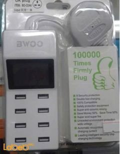 BWOO 8-Ports LED Display USB Charger - UK Plugs - white - BO-CDA5