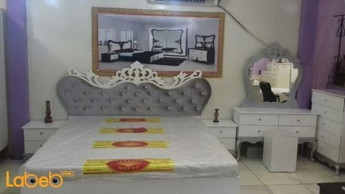 Bedroom 7 pieces Malaysian Wood White & Grey 2x2m bed size