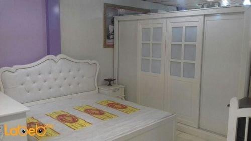 غرفة نوم 7 قطع خشب ماليزي لون اوف وايت سرير بمقاس 2*2 متر