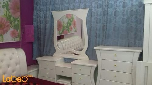 Bedroom 7 pieces chest of drawers Malaysian Wood White 2x2m bed size