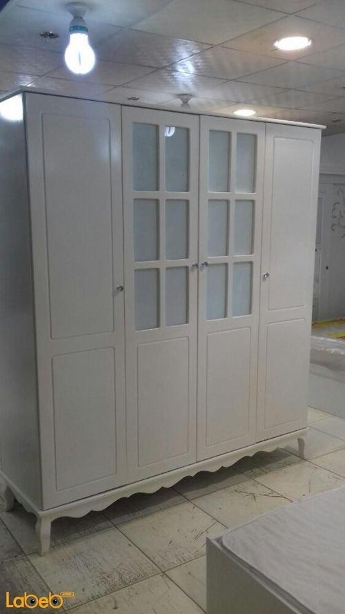 غرفة نوم 5 قطع خشب ماليزي ابيض سرير بمقاس 190*120 سم