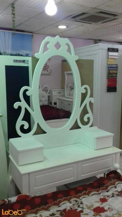 تسريحة غرفة نوم مفرد 5 قطع خشب ماليزي ابيض سرير بمقاس 190*120 سم