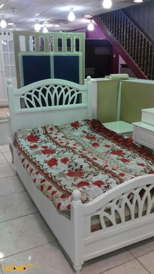 Single room 5 pieces white Malaysian wood 190x120cm bed