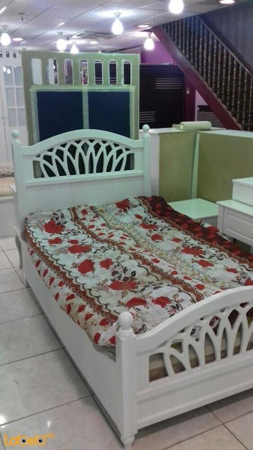 غرفة نوم مفرد 5 قطع خشب ماليزي ابيض سرير بمقاس 190*120 سم