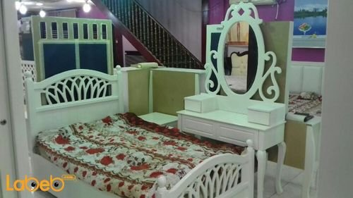 Single room 5 pieces Malaysian Wood white color 190x120cm bed