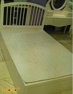 غرفة نوم مفرد - 5 قطع - خشب ماليزي - ابيض - سرير بمقاس 190*120 سم