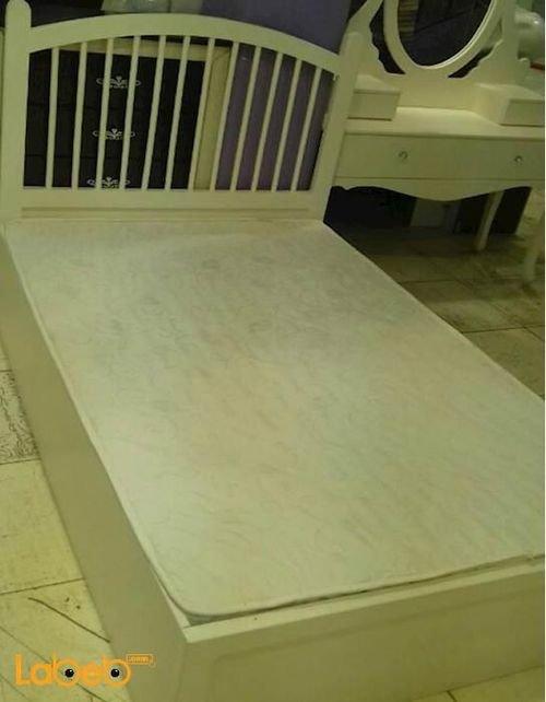 غرفة نوم مفرد 5 قطع خشب ماليزي ابيض سرير مقاس 190*120 سم