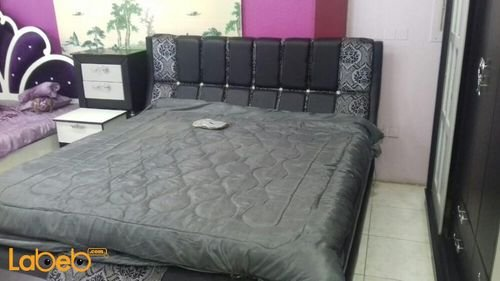 Bedroom 7 pieces Malaysian Wood Black & Silver 2x2m bed