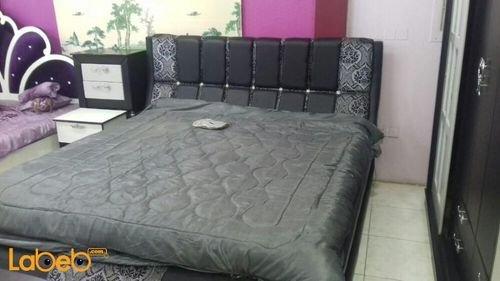 غرفة نوم 7 قطع خشب ماليزي أسود وفضي سرير بمقاس 2*2 متر