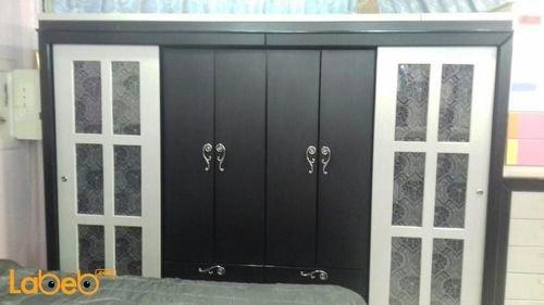 غرفة نوم 7 قطع خشب ماليزي أسود وفضي سرير 2*2 متر