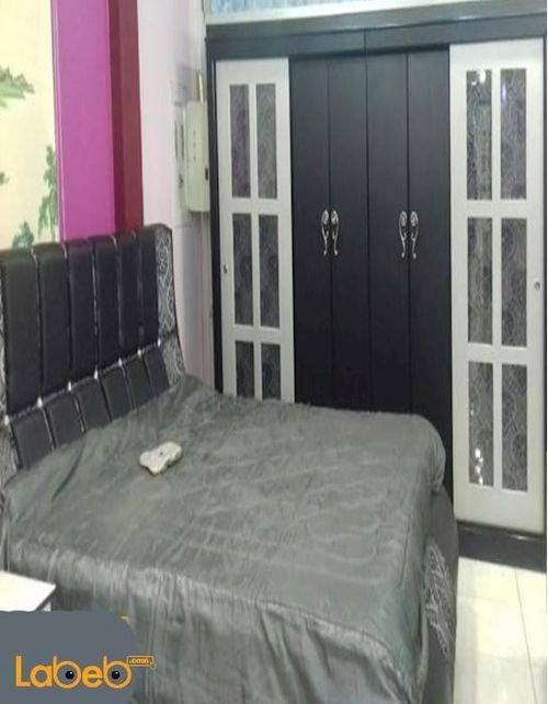 غرفة نوم من 7 قطع خشب ماليزي أسود وفضي سرير بمقاس 2*2 متر