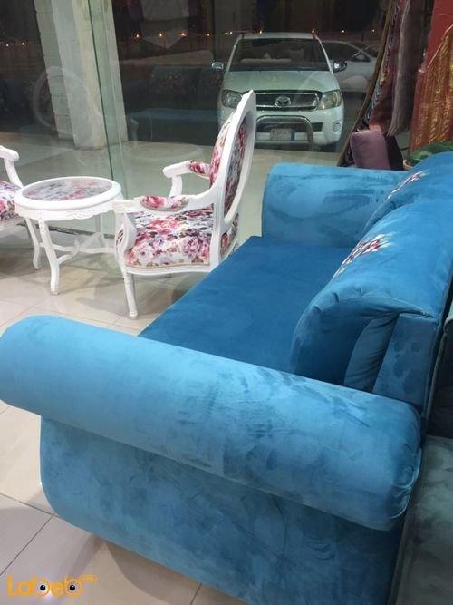 Blue Fabric Sofa Set