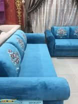 Fabric Sofa Set 4 pieces Separated 7 seats table Blue