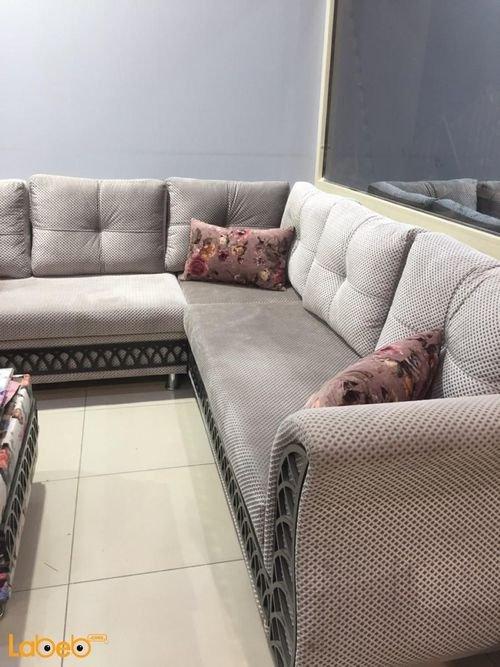 طقم صالون قماش جلسة زاوية متصلة 2 مقاعد منفصلة