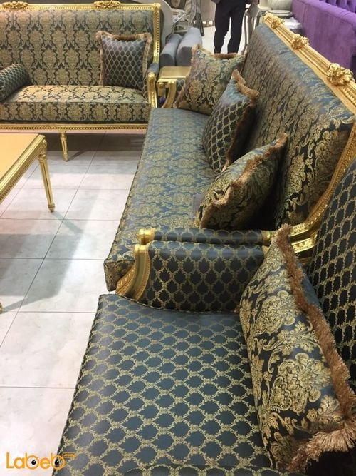 Sofa Set gold &Dark blue