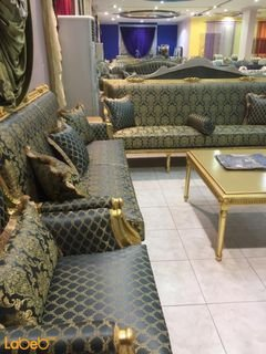 Sofa Set - 5 pieces separated - Turkish Fabric - gold &Dark blue