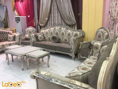 Sofa Set 5 pieces 9 seats Turkish Fabric gray color