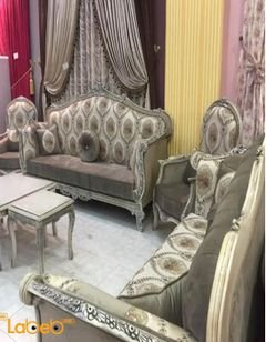 Sofa Set - 5 pieces - 9 seats - Turkish Fabric - gray color