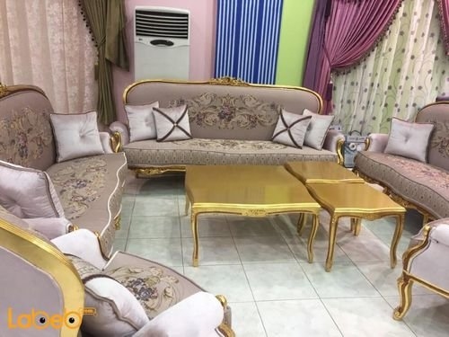 Sofa Set 5 pieces Tables Set Turkish fabric pink color