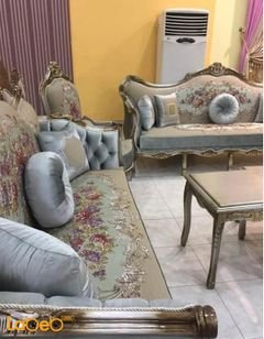 Classic Sofa Set - 5 pieces - Tables Set - beige with flowers