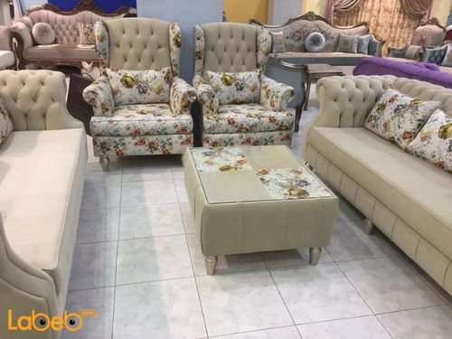 Fabric Sofa Set 4 pieces Separated 7 seats beige and flower