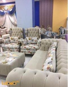 طقم صالون قماش - 4 قطع منفصلة - 7 مقاعد - لون بيج ومورد