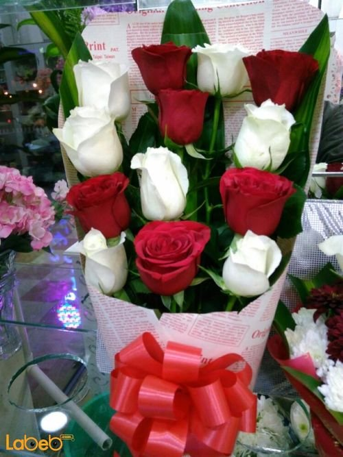 Natural bouquet white and red