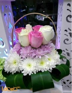 Natural roses bouquet with wooden base - white and rose color