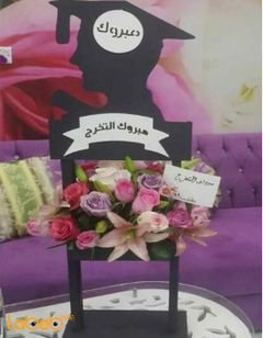 Stand for Graduation - With natural flowers - Purple pink & white