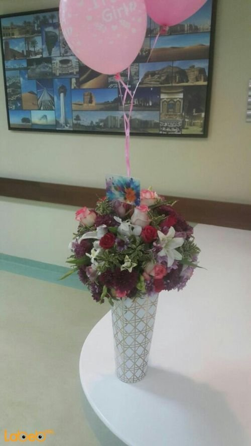 Natural flowers vaze White Purple Pink White & Clear vaze