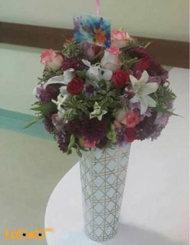 Natural flowers vaze - White - Purple - Pink - White & Clear vaze