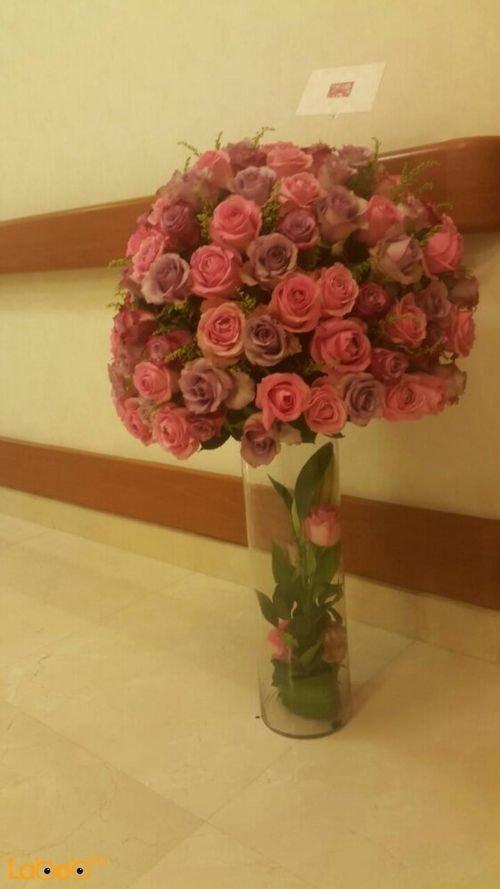 Natural flowers vase glass vase Purple & Pink colors